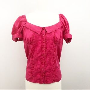 Anthropologie Odille Pink Button Down Shirt Size 6